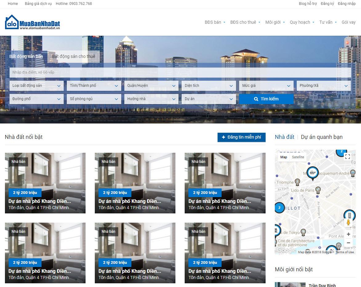 Thiết kế website bất động sản mua bán nhà đất