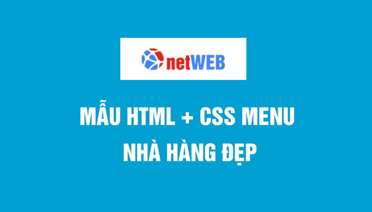 Mẫu HTML + CSS Menu nhà hàng đẹp