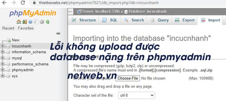 Lỗi không upload được database nặng trên phpmyadmin